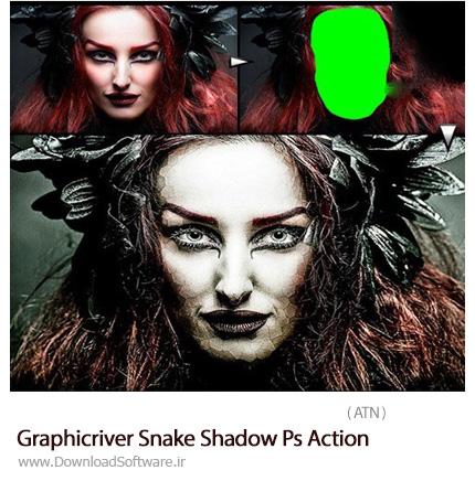 دانلود اکشن فتوشاپ ایجاد افکت پوست مار بر روی تصاویر از گرافیک ریور - Graphicriver Snake Shadow Ps Action