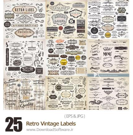 دانلود تصاویر وکتور عناصر تزئینی قدیمی - Retro Vintage Labels