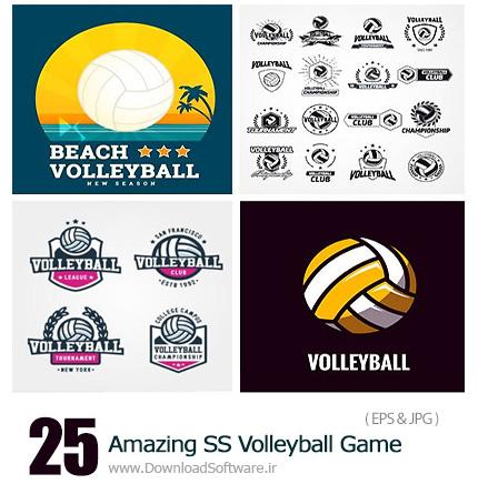 دانلود تصاویر وکتور بازی والیبال، توپ، تور از شاتر استوک - Amazing ShutterStock Volleyball Game
