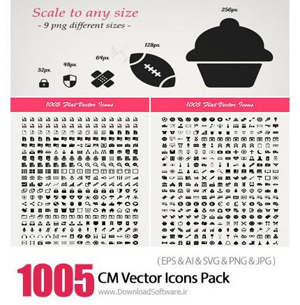 دانلود 1005 تصویر وکتور آیکون های متنوع - CM 1005 Vector Icons Pack