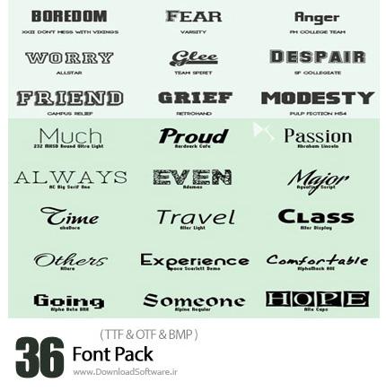 دانلود مجموعه فونت های انگلیسی متنوع - 36 Font Pack