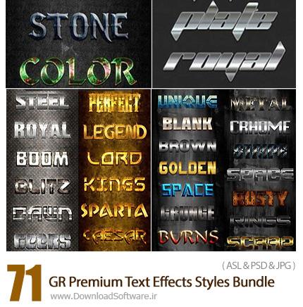 دانلود مجموعه تصاویر لایه باز استایل با افکت های متنوع از گرافیک ریور - GraphicRiver 71 Premium Text Effects Styles Bundle