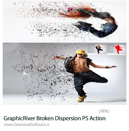 دانلود اکشن ایجاد افکت پراندگی ذرات ریز عکس از گرافیک ریور - GraphicRiver Broken Dispersion PS Action