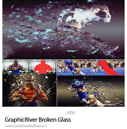 دانلود اکشن فتوشاپ ایجاد افکت شیشه شکسته بر روی تصاویر از گرافیک ریور - GraphicRiver Broken Glass