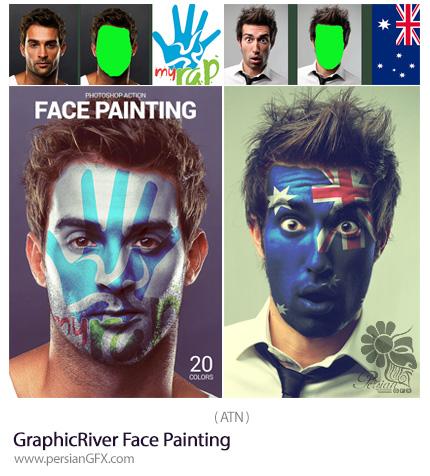 دانلود اکشن فتوشاپ ایجاد نقاشی روی صورت از گرافیک ریور - GraphicRiver Face Painting
