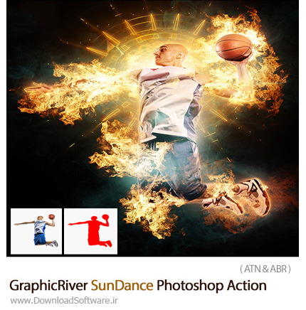 دانلود اکشن فتوشاپ ایجاد افکت رقص نور خورشید از گرافیک ریور - GraphicRiver SunDance Photoshop Action