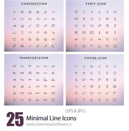دانلود تصاویر وکتور آیکون های متنوع - Minimal Line Icons