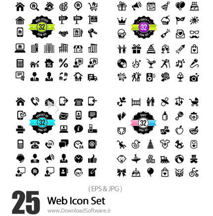 دانلود تصاویر وکتور آیکون های متنوع وب - Web Icon Set