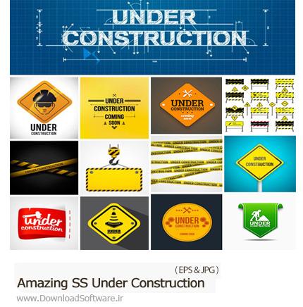 دانلود تصاویر وکتور تابلو و علائم در دست تعمیر، ساخت و ساز از شاتر استوک - Amazing ShutterStock Under Construction