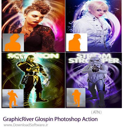 دانلود اکشن فتوشاپ ایجاد افکت انتزاعی بر روی تصاویر از گرافیک ریور - GraphicRiver Glospin Photoshop Action