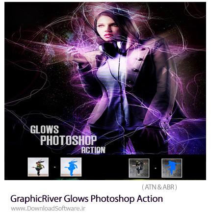 دانلود اکشن فتوشاپ ایجاد افکت درخشان بر روی تصاویر از گرافیک ریور - GraphicRiver Glows Photoshop Action