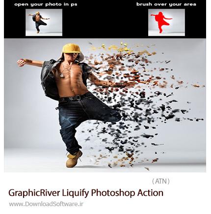 دانلود اکشن فتوشاپ ایجاد افکت ذرات مایع پراکنده بر روی تصاویر از گرافیک ریور - GraphicRiver Liquify Photoshop Action
