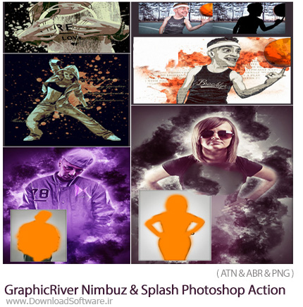 دانلود 2 اکشن فتوشاپ ایجاد افکت ابر و رعد و برق و قطرات پخش شده جوهر بر روی تصاویر از گرافیک ریور - GraphicRiver Nimbuz And Splash Photoshop Action