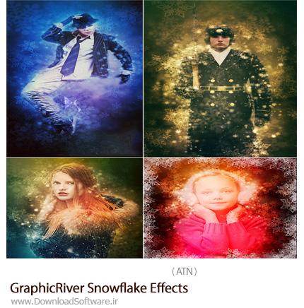 دانلود اکشن فتوشاپ ایجاد افکت ذرات برف بر روی تصاویر از گرافیک ریور - GraphicRiver Snowflake Effects
