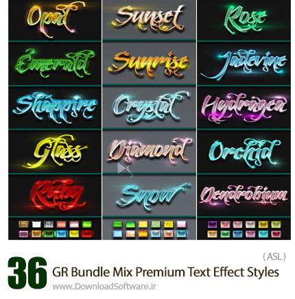 دانلود 36 استایل با افکت های متنوع متن از گرافیک ریور - Graphicriver 36 Bundle Mix Premium Text Effect Styles