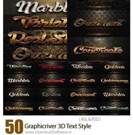 دانلود 50 تصویر لایه باز استایل با افکت های سه بعدی متن متنوع از گرافیک ریور - Graphicriver 50 3D Text Style