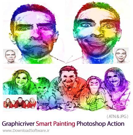 دانلود اکشن تبدیل تصاویر به نقاشی رنگارنگ از گرافیک ریور - Graphicriver Smart Painting Photoshop Action