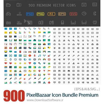 دانلود 900 تصویر وکتور از آیکون های متنوع - PixelBazaar Icon Bundle 900 Premium Vector Icons