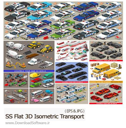 دانلود تصاویر وکتور تخت سه بعدی ایزومتریک وسایل حمل و نقل از شاتر استوک - Amazing ShutterStock Flat 3D Isometric Transport