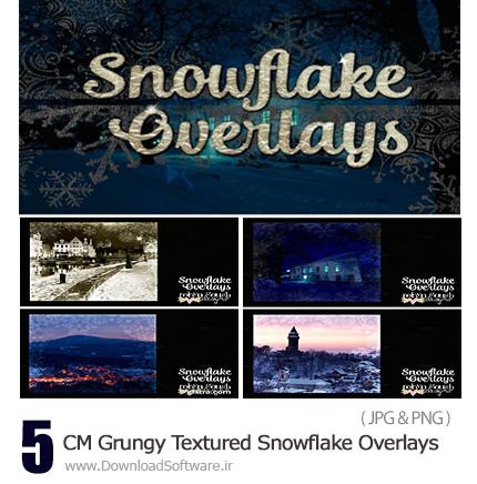 دانلود تصاویر تکسچر گرانج دانه های برف - CM Grungy Textured Snowflake Overlays