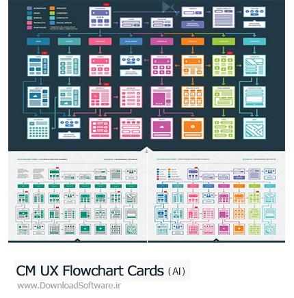 دانلود تصاویر وکتور قالب آماده فلوچارت های متنوع برای طراحان وب - CM UX Flowchart Cards