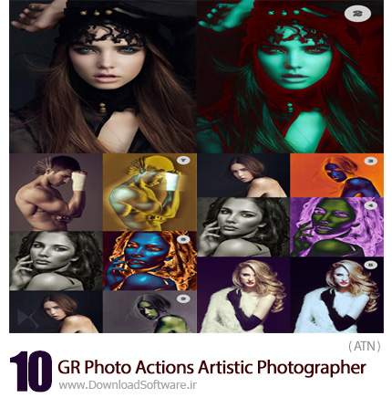 دانلود اکشن فتوشاپ 10 افکت هنری عکاسی برای تصاویر از گرافیک ریور - GraphicRiver 10 Photo Actions Artistic Photographer