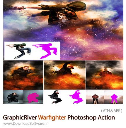 دانلود اکشن فتوشاپ ایجاد افکت جنگی آتشی بر روی تصاویر از گرافیک ریور - GraphicRiver Warfighter Photoshop Action