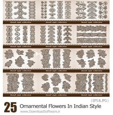 دانلود تصاویر وکتور عناصر تزئینی گلدار - Ornamental Flowers In Indian Style