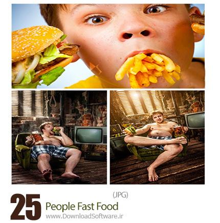 دانلود تصاویر با کیفیت مضرات فست فود و مردم با فست فود - People Fast Food