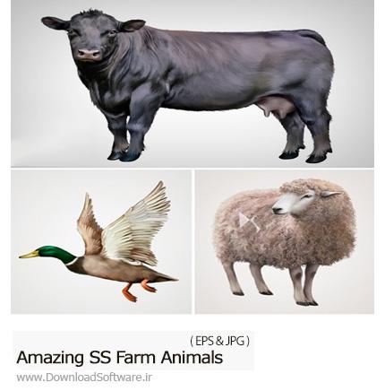 دانلود تصاویر وکتور حیوانات اهلی مزرعه، مرغ، خروس، بز، گاو و ... از شاتر استوک - Amazing ShutterStock Farm Animals