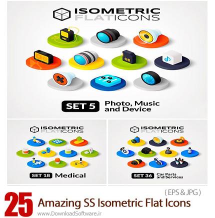 دانلود تصاویر وکتور آیکون های تخت ایزومتریک از شاتر استوک - Amazing ShutterStock Isometric Flat Icons
