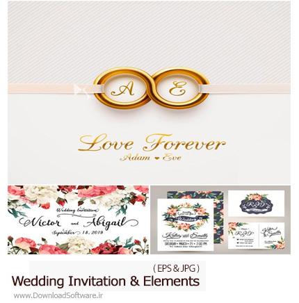 دانلود تصاویر وکتور کارت دعوت وعناصر طراحی جشن عروسی از شاتر استوک - Amazing ShutterStock Wedding Invitation And Elements