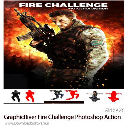 دانلود اکشن فتوشاپ ایجاد افکت چالش آتش بر روی تصاویر از گرافیک ریور - GraphicRiver Fire Challenge Photoshop Action