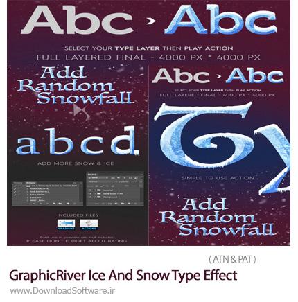 دانلود اکشن فتوشاپ ایجاد افکت یخ و برف بر روی متون از گرافیک ریور - GraphicRiver Ice And Snow Type Effect