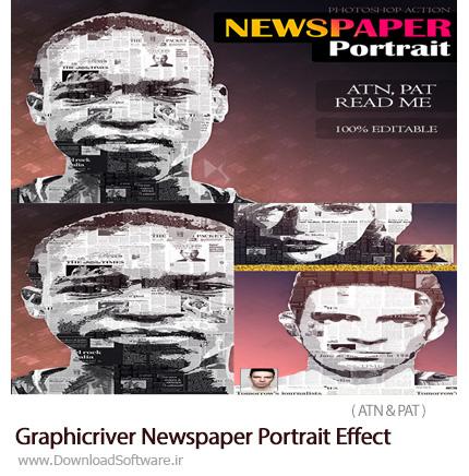 دانلود اکشن فتوشاپ ایجاد افکت روزنامه بر روی پرتره از گرافیک ریور - Graphicriver Newspaper Portrait Effect