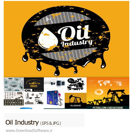 دانلود تصاویر وکتور صنعت نفت، بشکه نفت، سوخت و ... - Oil Industry