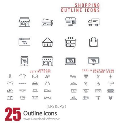 دانلود تصاویر وکتور آیکون های خطی متنوع - Outline Icons