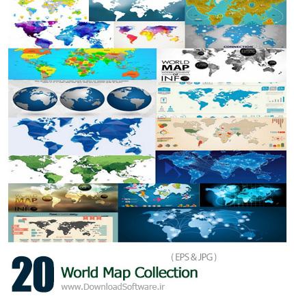 دانلود تصاویر وکتور نقشه های مختلف جهان - World Map Collection