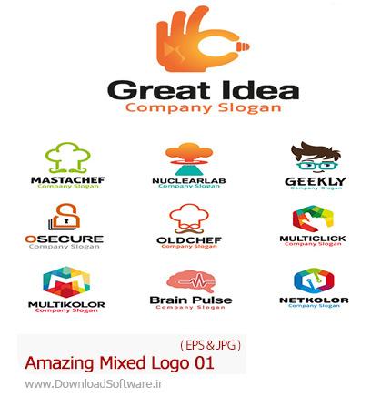 دانلود تصاویر وکتور آرم و لوگوهای مختلف شگفت انگیز - Amazing Mixed Logo 01