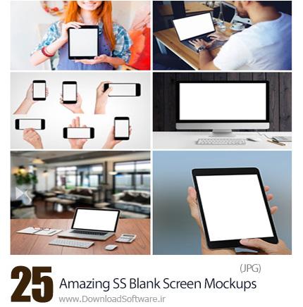 دانلود تصاویر با کیفیت قالب پیش نمایش یا موکاپ صفحه نمایش خالی موبایل، تبلت و لپ تاپ از شاتر استوک - Amazing ShutterStock Blank Screen Mockups