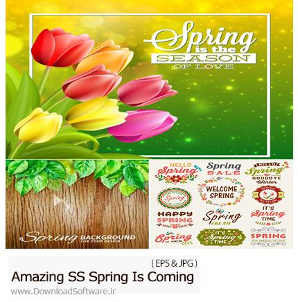 دانلود تصاویر وکتور بهار در راه است از شاتر استوک - Amazing ShutterStock Spring Is Coming