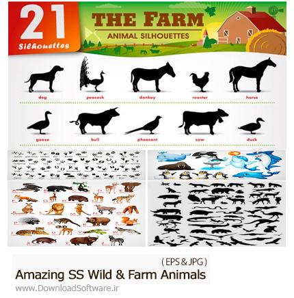 دانلود تصاویر وکتور حیوانات وحشی و اهلی مزرعه، اسب، گاو، گوسفند، خرس و ... از شاتر استوک - Amazing ShutterStock Wild And Farm Animals