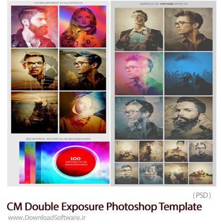 دانلود قالب لایه باز ترکیب دو تصویر با یکدیگر - CM Double Exposure Photoshop Template