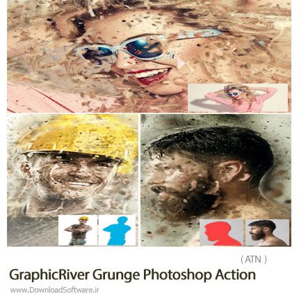 دانلود اکشن فتوشاپ ایجاد افکت گرانج بر روی تصاویر از گرافیک ریور - GraphicRiver Grunge Photoshop Action