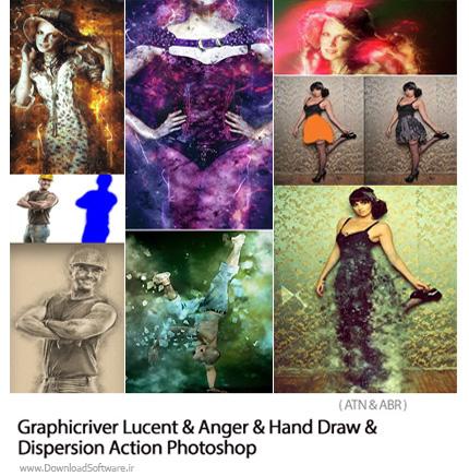 دانلود مجموعه اکشن فتوشاپ ایجاد افکت خطوط درخشان و خشمناک و ذرات پخش شده و نقاشی دستی بر روی تصاویر از گرافیک ریور - GraphicRiver Lucent And Anger And Hand Draw An