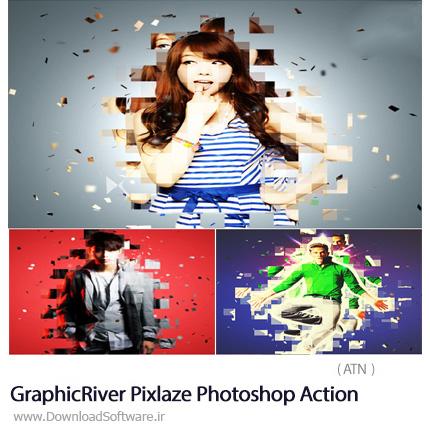 دانلود اکشن فتوشاپ ایجاد افکت پیکسلی بر روی تصاویر از گرافیک ریور - GraphicRiver Pixlaze Photoshop Action