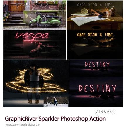 دانلود اکشن فتوشاپ ایجاد افکت خطوط درخشان بر روی تصاویر از گرافیک ریور - GraphicRiver Sparkler Photoshop Action
