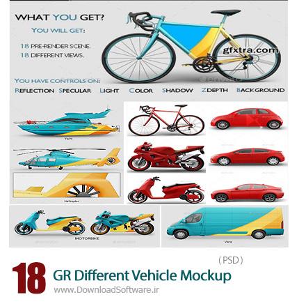 دانلود 18 تصویر لایه باز قالب پیش نمایش یا موکاپ وسایل نقلیه مختلف، ماشین، اتوبوس، موتور سیکلت و ... از گرافیک ریور - Graphicriver 18 Different Vehicle Mockup