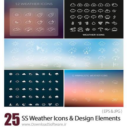 دانلود تصاویر وکتور آیکون های آب و هوا، ابری، بارانی، رعد و برق و ... از شاتر استوک - Amazing ShutterStock Weather Icons And Design Elements