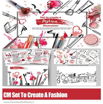 دانلود تصاویر کلیپ آرت لوازم آرایشی، براش و عناصر طراحی - CM Set To Create A Fashion Illustration